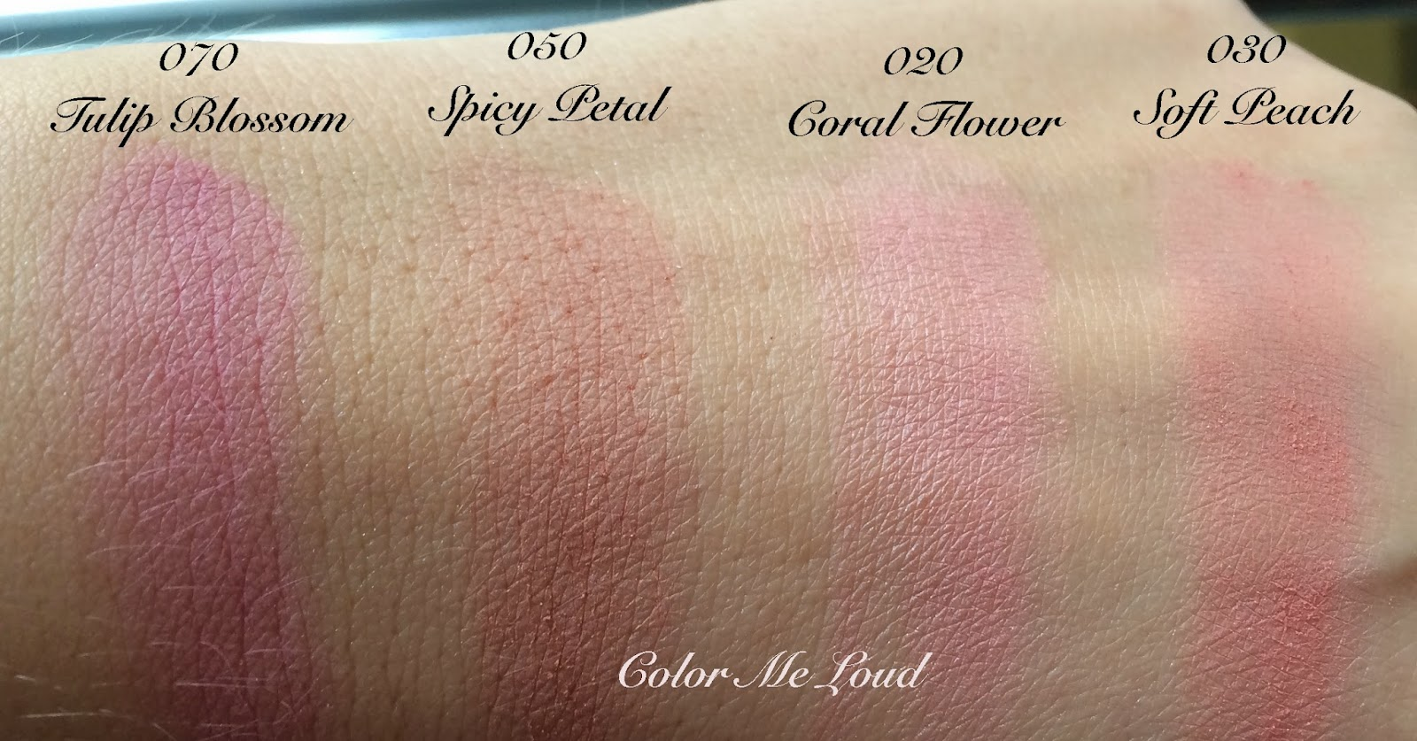 Swatches of Gucci Sheer Blushing Powder Coral Flower, Soft Peach, Spicy Petal and Tulip Blossom