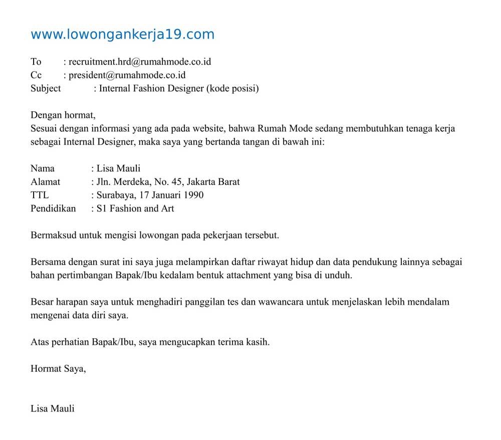 Contoh Surat Lamaran Kerja Bahasa Indonesia Via Email