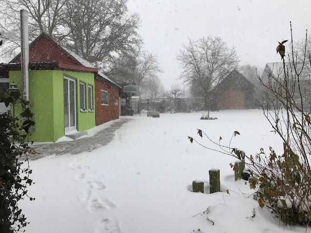 Schneegestöber im Landgarten