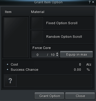 Select Upgrade > Item Option