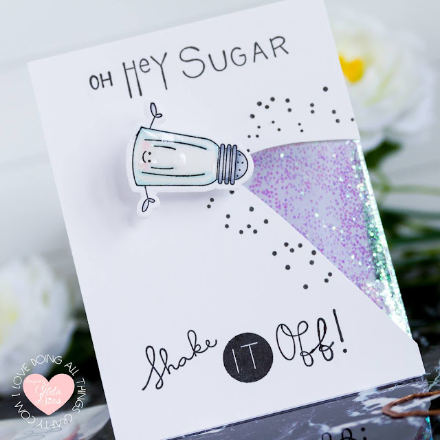 Hey Sugar Shaker | Partial Shaker Window | Wobble Card by ilovedoingallthingscrafty.com