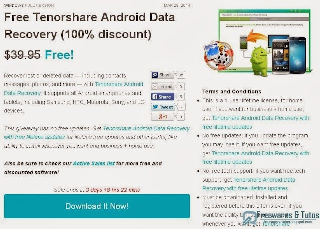 Offre promotionnelle : Tenorshare Android Data Recovery gratuit !