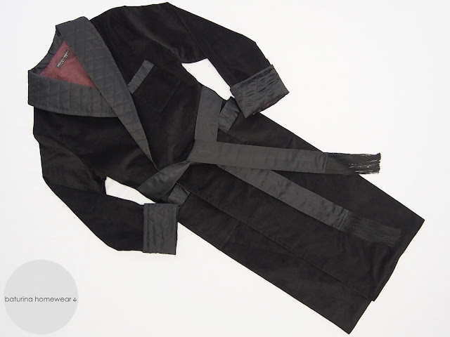 Traditional luxury mens velvet and quilted dressing gown with tassels in black burgundy.
