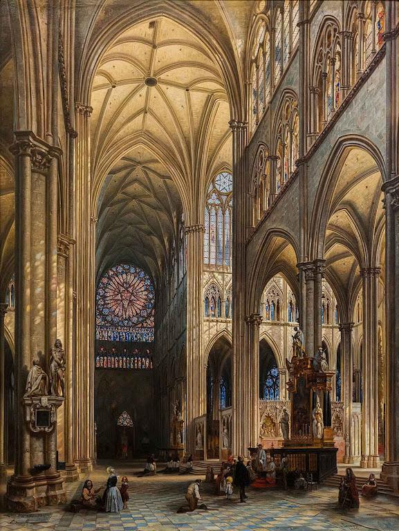 Interior da catedral de Amiens pintado por Jules Victor Genisson (1805 – 1860).