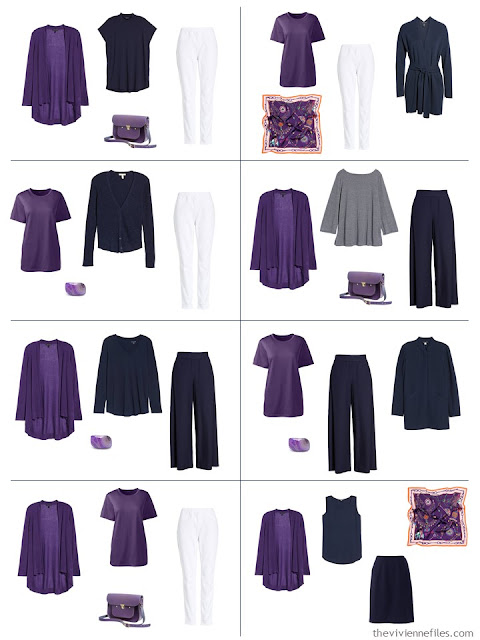 8 outfits in navy and white with ultra violet accents