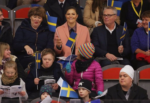 Crown Princess Victoria wore-MaxMara Wool and angora coat. PyeongChang 2018 Paralympic Winter Games