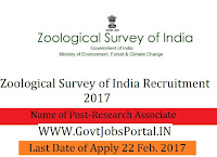 Zoological Survey of India Recruitment 2017 – Research Associate & Project Fellow