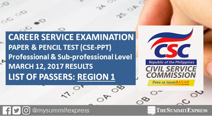 Region 1 List of Passers: March 2017 civil service exam (CSE-PPT) results