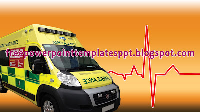 Ambulance Powerpoint Template with Paramedic for Healthcare or Medical Presentation