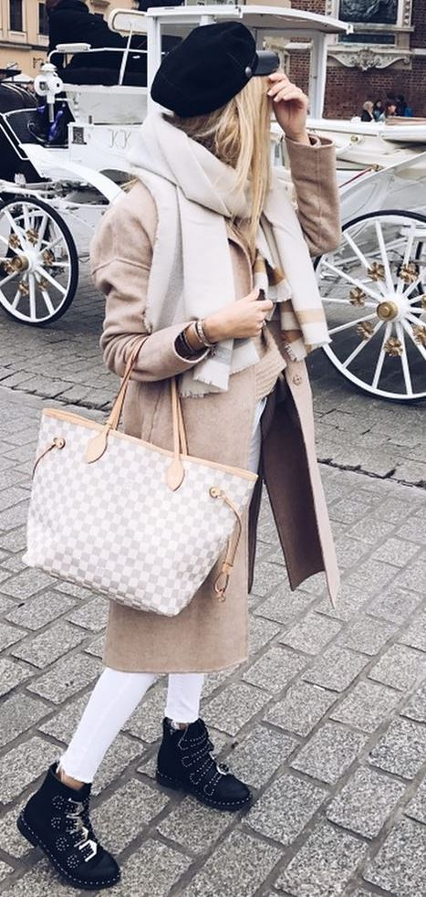 fall fashion trends | hat + scarf + nude coat + sweater + bag + white skinnies + boots