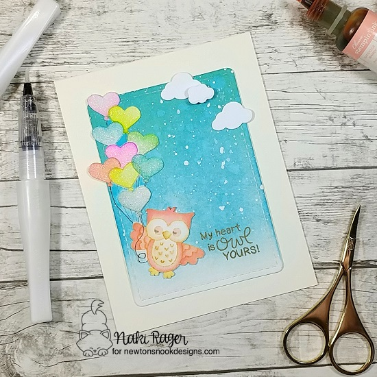 Owl Valentine Card by Naki Rager | Love Owl-ways Stamp Set by Newton's Nook Designs #newtonsnook #handmade