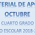 MATERIAL DE APOYO (octubre) 4°  PRIMARIA ciclo escolar 2018-2019