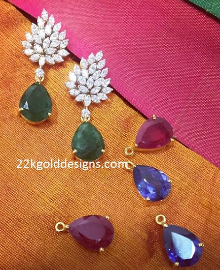 Interchangeable Gemstones Diamond Earrings