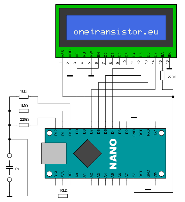 Schematic of the Arduino capacitance meter