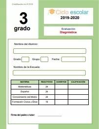 Examen de Diagnóstico Tercer grado 2019-2020