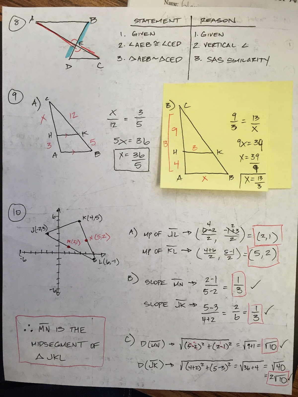 Honors Geometry - Vintage High School: Chapter 7 Practice test