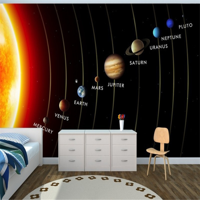 Space Wall Mural Planets Sun Solar system Photo Wallpaper 3D Bedroom