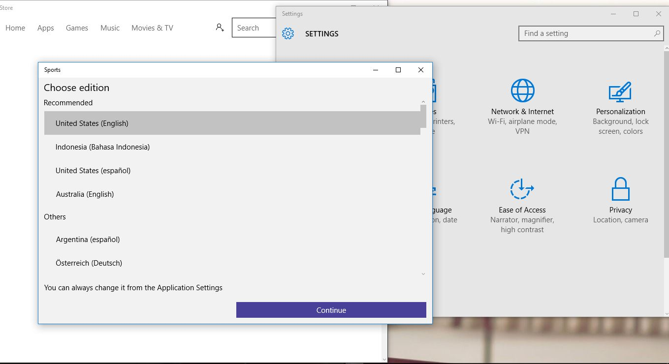 default window layout in windows 10