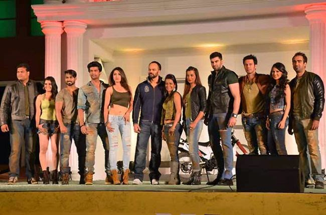 Ace action director Rohit Shetty showcasing the Fear Factor Khatron Ke Khiladi Contestants