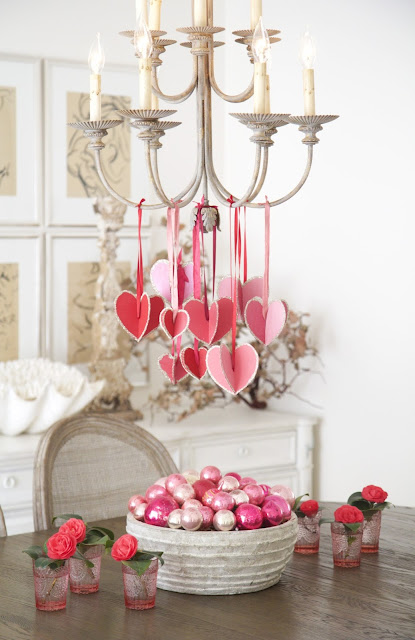 """Hearts-and-Crafts"" for Valentine's Day; hanging hearts in dining room; Nora's Nest"