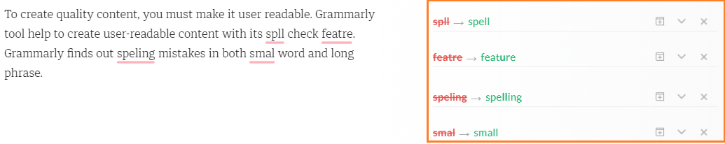 Grammarly detects spelling mistakes