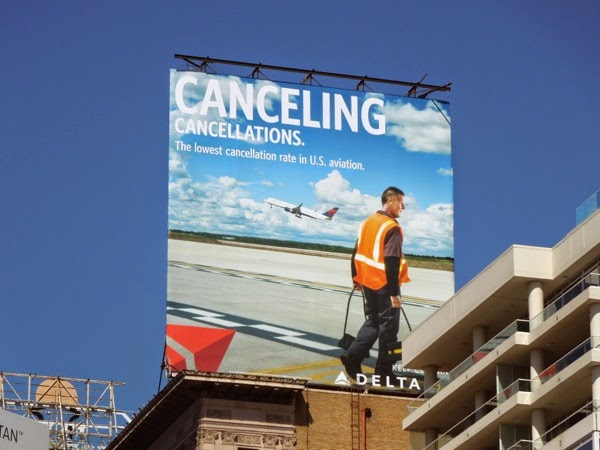 Delta Airlines Canceling cancellations billboard
