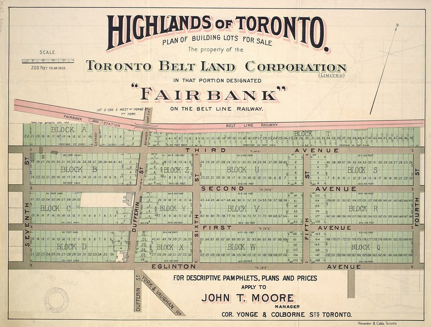 Highlands of Toronto map showing Fairbank lots for sale