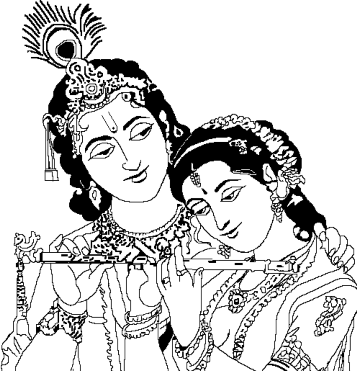 Radha Krishna Pencil Coloring Coloring Pages