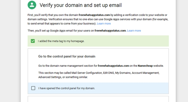 google apps domain verification