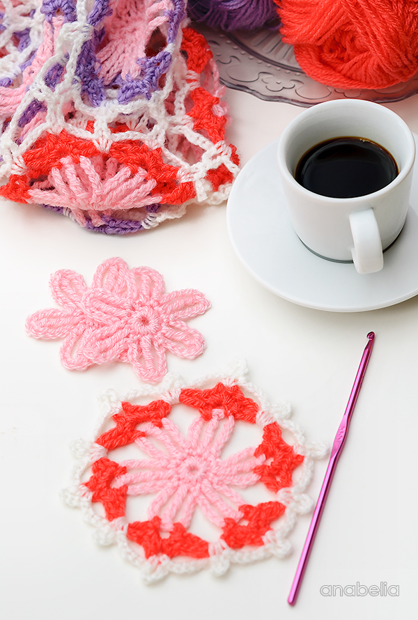 Hexagonal crochet motif by Anabelia Craft Design
