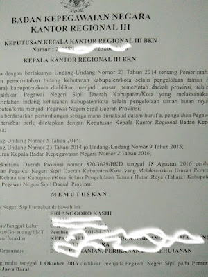 Petikan keputusan Kepala BKN ketika alih status ke Pemprov Jawa Barat