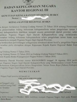 Keputusan Kepala BKN tentang pengalihan kehutanan ke provinsi.