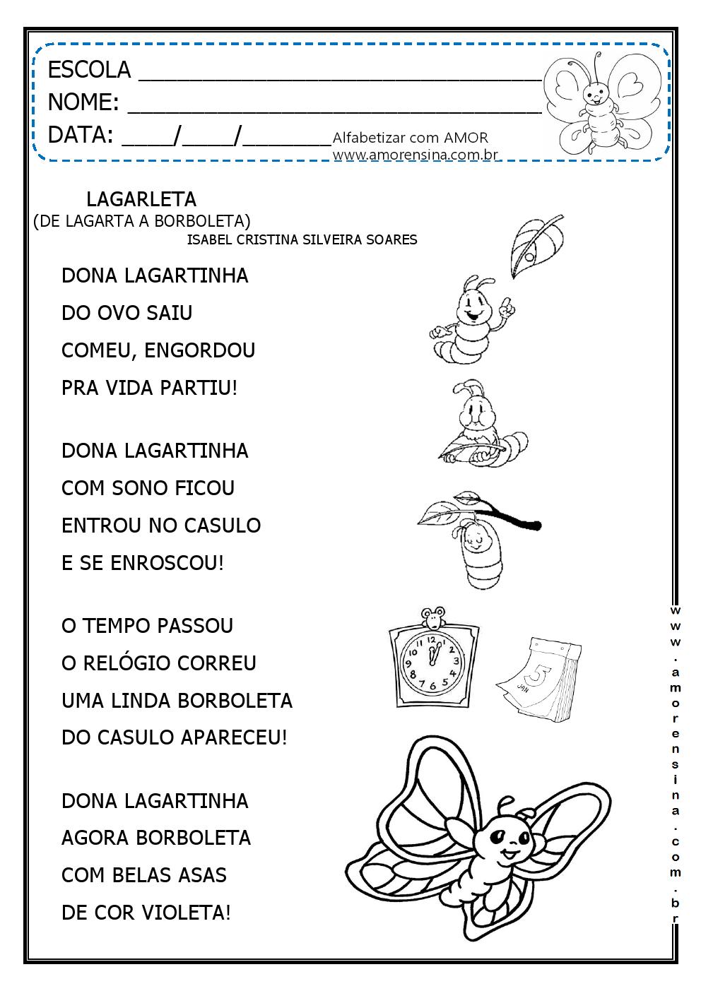 Favoritos LAGARLETA - ( DE LAGARTA A BORBOLETA) - INTERDISCIPLINAR - 1º ANO  UJ93