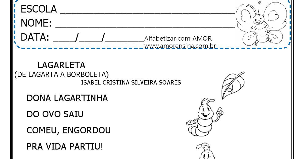 Preferência LAGARLETA - ( DE LAGARTA A BORBOLETA) - INTERDISCIPLINAR - 1º ANO  XK53