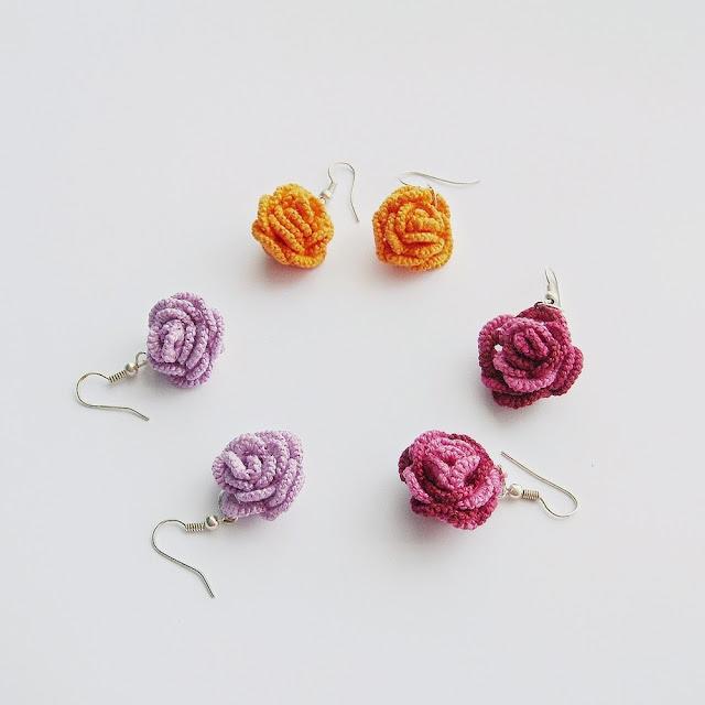 róża frywolitkowa, kolczyki frywolitkowe