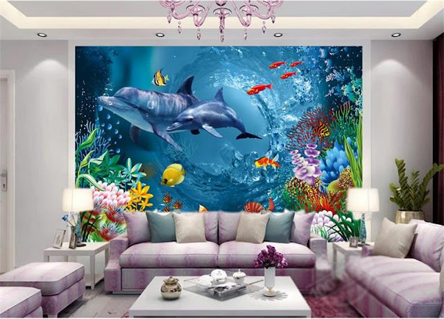 Dolphin wall mural Underwater world children large 3d mural wallpaper aquarium animal