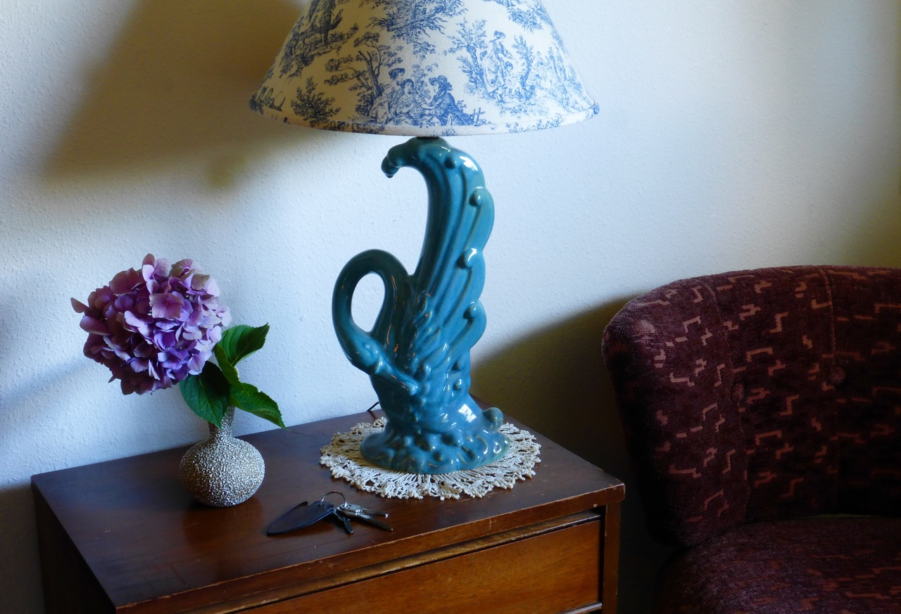 stories of home, what home means to me, vintage furniture, vintage floral vase, vintage bird lamp, vintage dresser, vintage chair