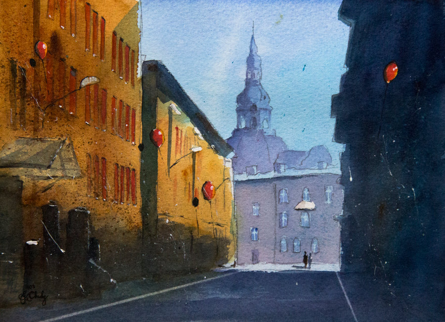 08-A-Krawczyka-Street-in-Nikiszowiec-Grzegorz-Chudy-sanderus-Dreams-Started-with-Watercolor-Paintings-www-designstack-co