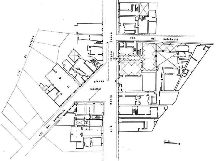 Historia de la arquitectura ii t n implantacion y planta palacio rucellai - I giardini di palazzo rucellai ...