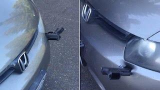 Homem vai abastecer carro e encontra pistola cravada; fotos