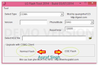 LG flash tool normal flash / CSE flash