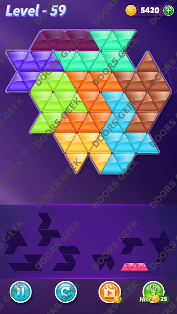 Block! Triangle Puzzle 8 Mania Level 59 Solution, Cheats, Walkthrough for Android, iPhone, iPad and iPod