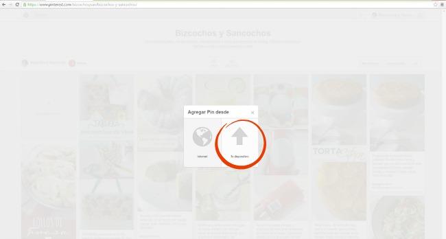 Agregar una imagen desde tu dispositivo a Pinterest | www.bizcochosysancochos.com
