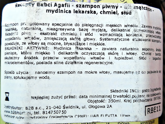 Receptury Babci Agafii - Szampon piwny dla mężczyzn, etyieta