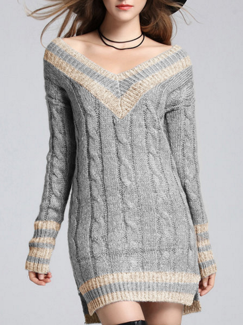 V Neck Sexy H-Line Sweater Dress