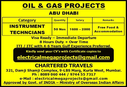 Instrumentation Technician Job Vacancies in OIl & Gas Project Abu Dhabi | Chartered Travels