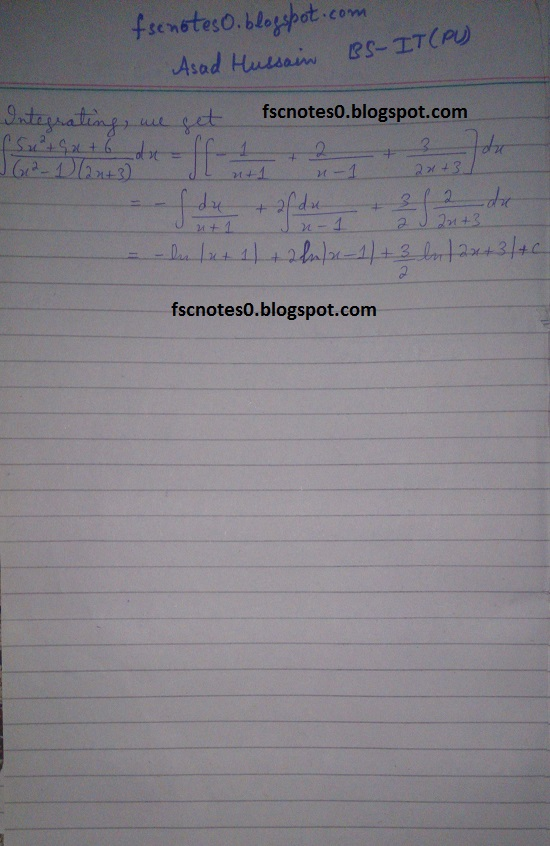 FSc ICS Notes Math Part 2 Chapter 3 Integration Exercise 3.5 question 1 - 11 by Asad Hussain 9