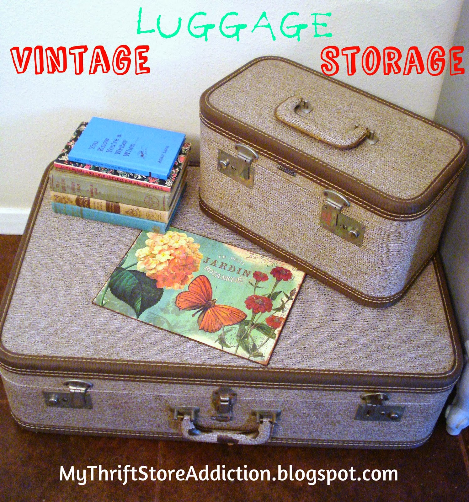 repurposed vintage luggage storage