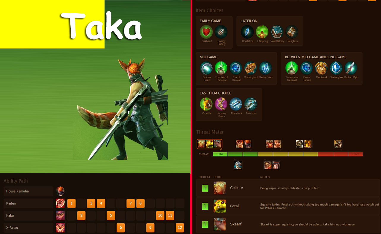 VG Hero Taka :: Vainglory Taka stats and strategy.