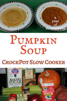 Homemade Pumpkin Soup in the Crockpot Slow Cooker can be made either using fresh or canned pumpkin. This is a light and healthy soup that is creamy and delicious. It tastes like Restaurant Food, but you can make it super easily at home!